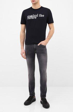 Мужская хлопковая футболка HUGO черного цвета, арт. 50432559 | Фото 2