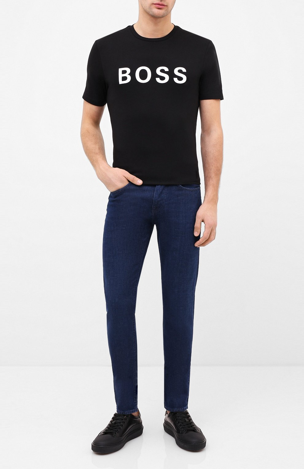 Мужские джинсы BOSS темно-синего цвета, арт. 50432462 | Фото 2