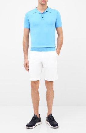 Мужское хлопковое поло BOSS голубого цвета, арт. 50432566 | Фото 2