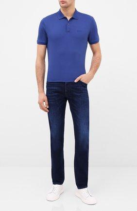 Мужское хлопковое поло BOSS синего цвета, арт. 50425985 | Фото 2