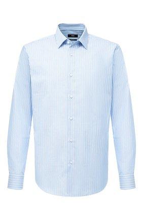 Мужская хлопковая сорочка BOSS голубого цвета, арт. 50433100 | Фото 1
