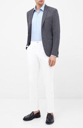 Мужская хлопковая сорочка BOSS голубого цвета, арт. 50433100 | Фото 2