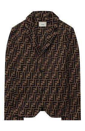 Детский хлопковый пиджак FENDI коричневого цвета, арт. JMA184/A6A6/8A-12+ | Фото 1