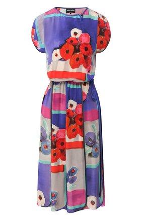Женское шелковое платье GIORGIO ARMANI голубого цвета, арт. 0SHVA04D/T01HV | Фото 1