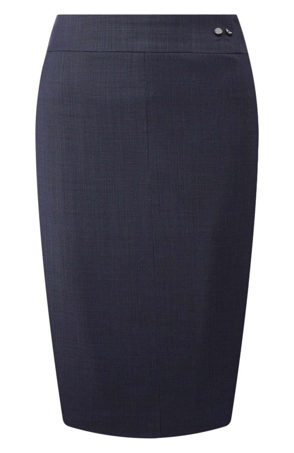 Женская шерстяная юбка BOSS темно-синего цвета, арт. 50430667 | Фото 1