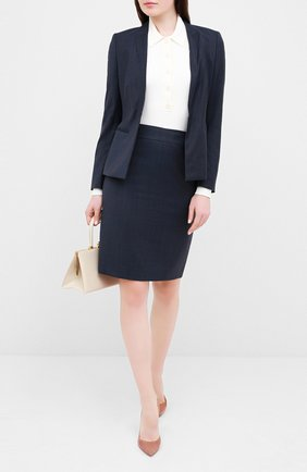 Женская шерстяная юбка BOSS темно-синего цвета, арт. 50430667 | Фото 2