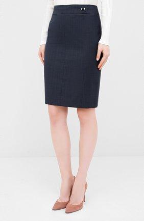 Женская шерстяная юбка BOSS темно-синего цвета, арт. 50430667 | Фото 3