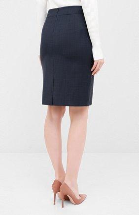 Женская шерстяная юбка BOSS темно-синего цвета, арт. 50430667 | Фото 4