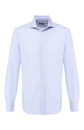 Мужская сорочка из хлопка и льна CORNELIANI голубого цвета, арт. 85P002-0111616/00 | Фото 1