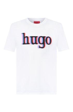 Мужская хлопковая футболка HUGO белого цвета, арт. 50432744   Фото 1
