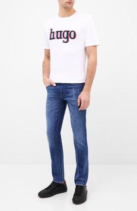 Мужская хлопковая футболка HUGO белого цвета, арт. 50432744 | Фото 2