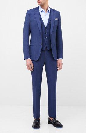 Мужской шерстяной костюм-тройка BOSS синего цвета, арт. 50432974 | Фото 1