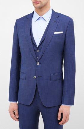 Мужской шерстяной костюм-тройка BOSS синего цвета, арт. 50432974 | Фото 2