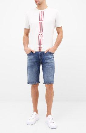 Мужская хлопковая футболка HUGO белого цвета, арт. 50434286   Фото 2