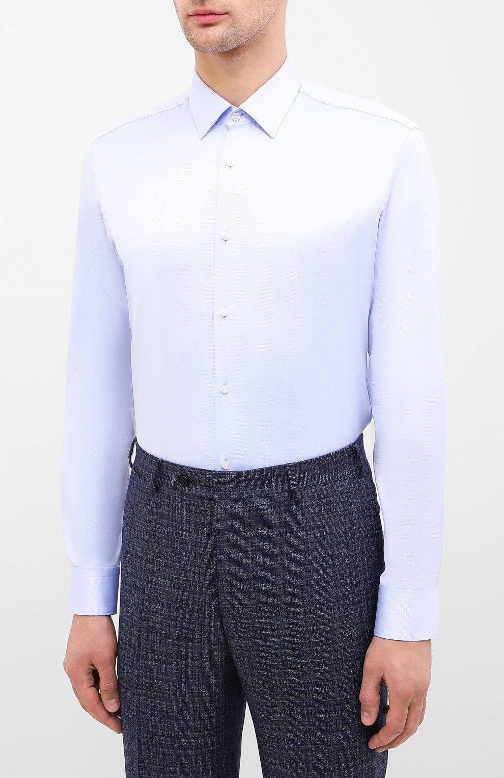 Мужская хлопковая сорочка BOSS синего цвета, арт. 50433149 | Фото 3
