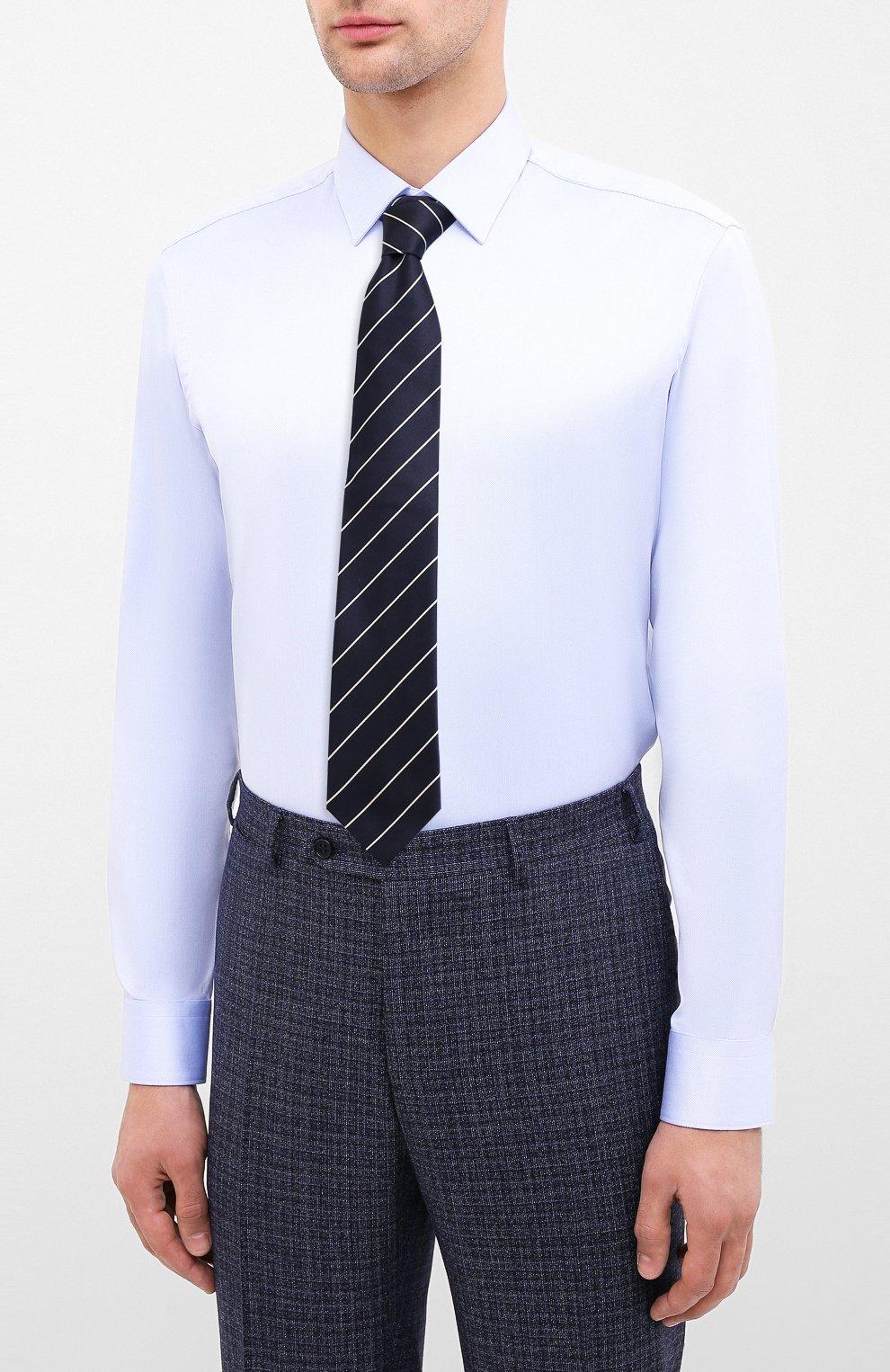 Мужская хлопковая сорочка BOSS синего цвета, арт. 50433149 | Фото 4