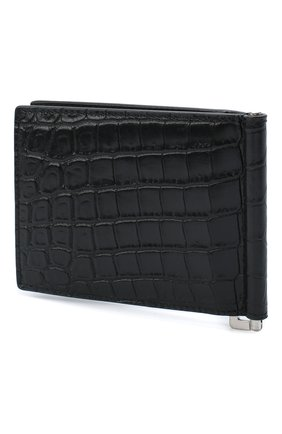 Мужской кожаный зажим для денег SAINT LAURENT черного цвета, арт. 378005/DZEDE | Фото 2