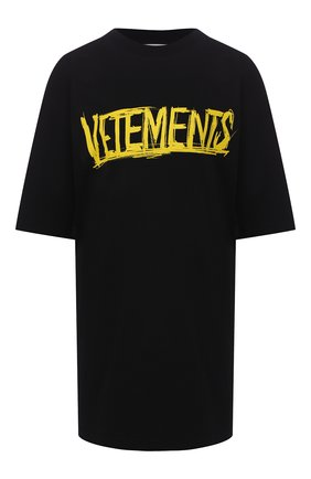 Женская хлопковая футболка VETEMENTS черного цвета, арт. UAH21TR618 1610/W | Фото 1