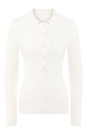Женское поло из вискозы и хлопка BOSS белого цвета, арт. 50430404 | Фото 1