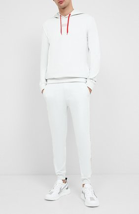 Мужской хлопковое худи HUGO белого цвета, арт. 50432328   Фото 2