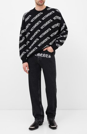 Женская свитер из хлопка и кашемира VETEMENTS черно-белого цвета, арт. UAH21KN047 1050/M | Фото 2