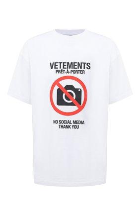 Женская хлопковая футболка VETEMENTS белого цвета, арт. UAH21TR546 1600/M | Фото 1