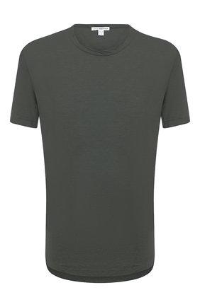 Мужская хлопковая футболка JAMES PERSE хаки цвета, арт. MKJ3360 | Фото 1