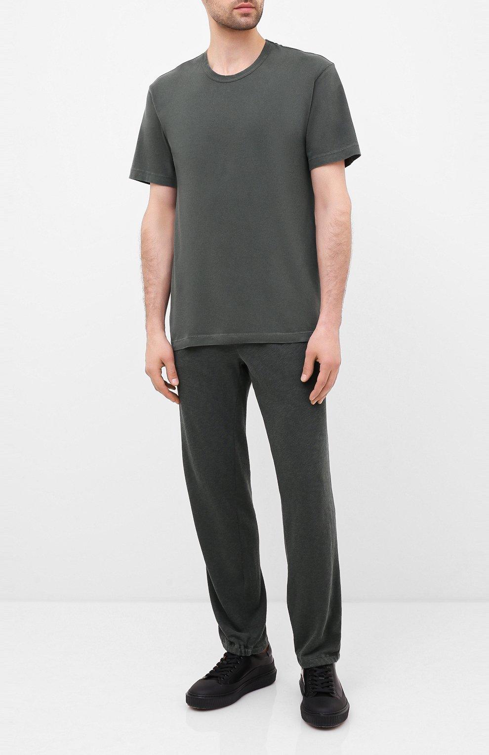 Мужская хлопковая футболка JAMES PERSE хаки цвета, арт. MLJ3311 | Фото 2