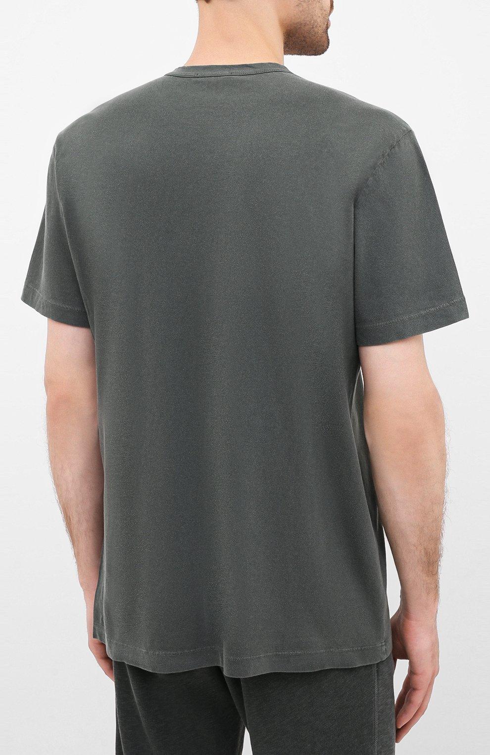 Мужская хлопковая футболка JAMES PERSE хаки цвета, арт. MLJ3311 | Фото 4