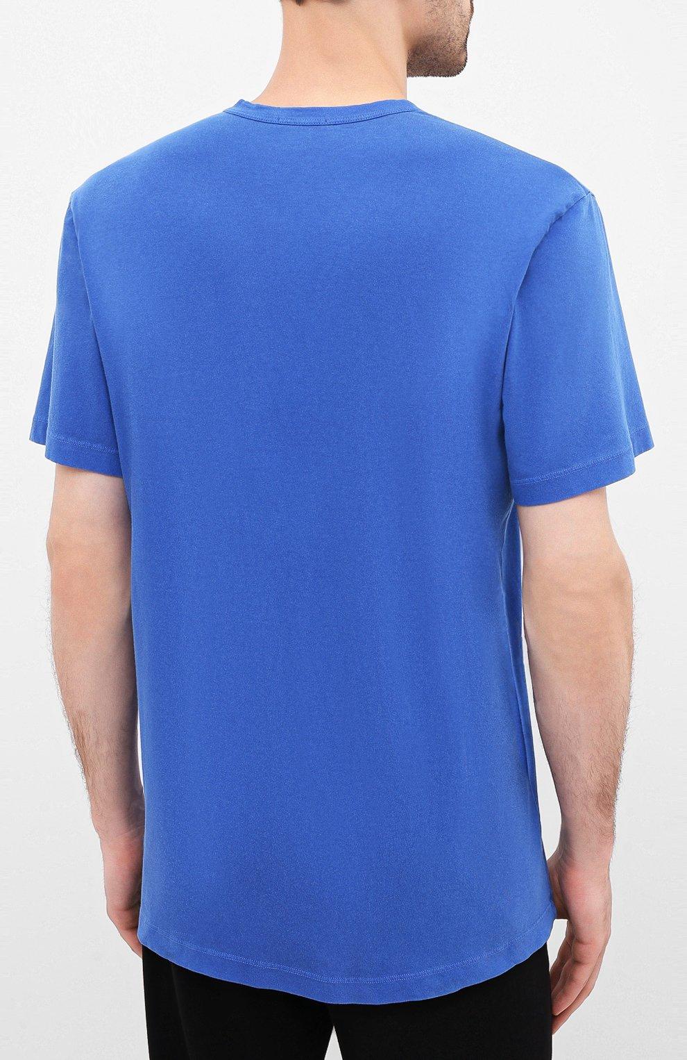 Мужская хлопковая футболка JAMES PERSE синего цвета, арт. MLJ3311 | Фото 4