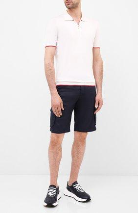 Мужское шелковое поло KITON белого цвета, арт. UK600   Фото 2 (Материал внешний: Шелк; Рукава: Короткие; Длина (для топов): Стандартные; Застежка: Молния; Кросс-КТ: Трикотаж)