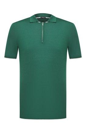Мужское шелковое поло KITON зеленого цвета, арт. UK600 | Фото 1 (Материал внешний: Шелк; Рукава: Короткие; Длина (для топов): Стандартные; Застежка: Молния; Кросс-КТ: Трикотаж)