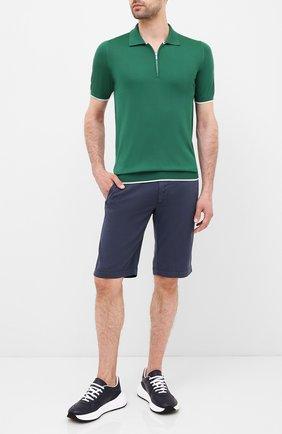 Мужское шелковое поло KITON зеленого цвета, арт. UK600 | Фото 2 (Материал внешний: Шелк; Рукава: Короткие; Длина (для топов): Стандартные; Застежка: Молния; Кросс-КТ: Трикотаж)