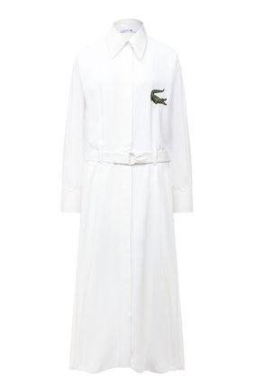 Женское платье с поясом LACOSTE белого цвета, арт. EF7446 | Фото 1