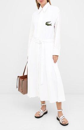 Женское платье с поясом LACOSTE белого цвета, арт. EF7446 | Фото 2
