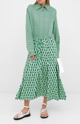 Женское платье с поясом LACOSTE зеленого цвета, арт. EF6641 | Фото 2