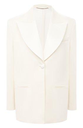 Женский жакет из шерсти и шелка MAGDA BUTRYM белого цвета, арт. 1305202307 | Фото 1