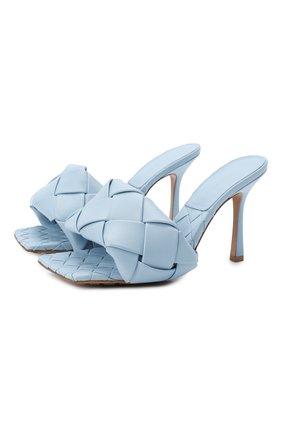Женские кожаные мюли BOTTEGA VENETA голубого цвета, арт. 608854/VBSS0 | Фото 1