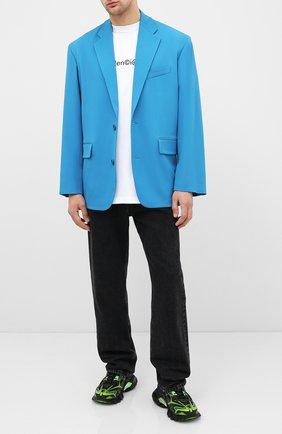 Мужской шерстяной пиджак BALENCIAGA голубого цвета, арт. 623565/TIT17 | Фото 2