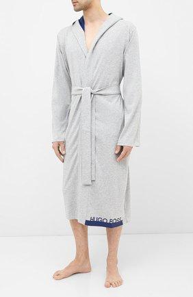 Мужской хлопковый халат BOSS серого цвета, арт. 50430698 | Фото 2