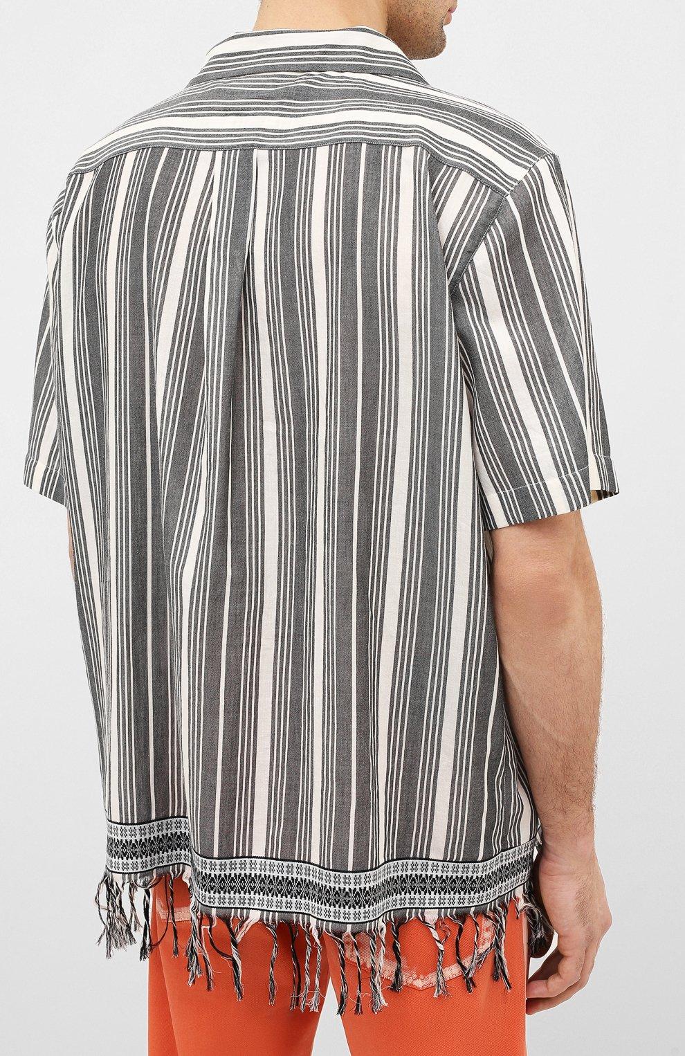 Мужская хлопковая рубашка loewe x paula's ibiza LOEWE черно-белого цвета, арт. H616337X30   Фото 4