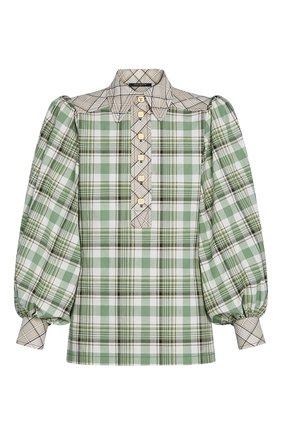 Женская хлопковая блузка LOUIS VUITTON зеленого цвета, арт. 1A7T5Z | Фото 1