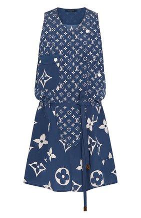 Женское шелковое платье lv escale LOUIS VUITTON синего цвета, арт. 1A7SEM | Фото 1
