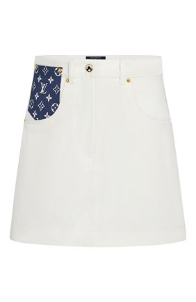 Женская джинсовая юбка lv escale LOUIS VUITTON белого цвета, арт. 1A7UNG | Фото 1