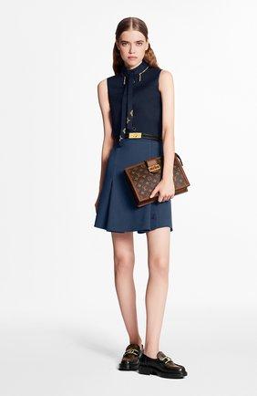 Женская юбка из шерсти и шелка LOUIS VUITTON темно-синего цвета, арт. 1A7SWJ | Фото 2