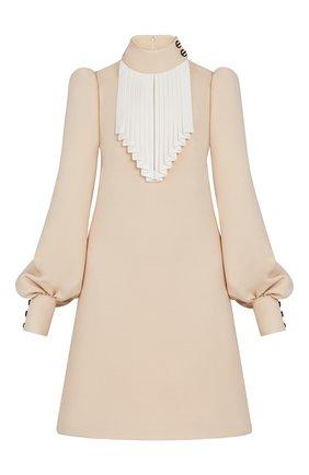 Женское платье из шелка и шерсти LOUIS VUITTON бежевого цвета, арт. 1A7TIY | Фото 1