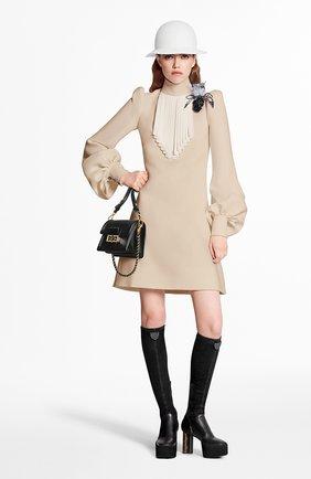 Женское платье из шелка и шерсти LOUIS VUITTON бежевого цвета, арт. 1A7TIY | Фото 2