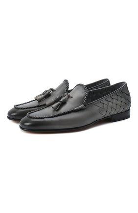Мужские кожаные лоферы SANTONI серого цвета, арт. MCNC17121LA3SHCHG36 | Фото 1