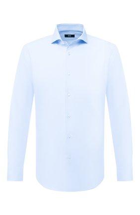 Мужская хлопковая сорочка BOSS голубого цвета, арт. 50433281 | Фото 1