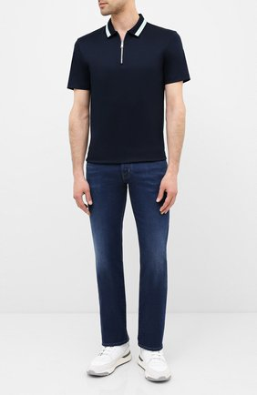 Мужское хлопковое поло BOSS темно-синего цвета, арт. 50433305 | Фото 2